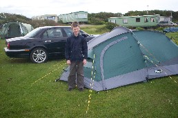 Sebastian camping in the Lake District