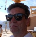 Trevor Hopkins in sunglasses on holiday