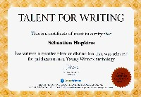 Certificate for young writing talent