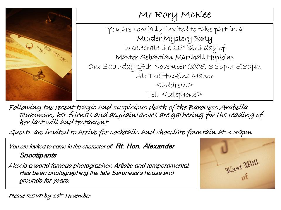 Children's Murder Mystery Party Invitation